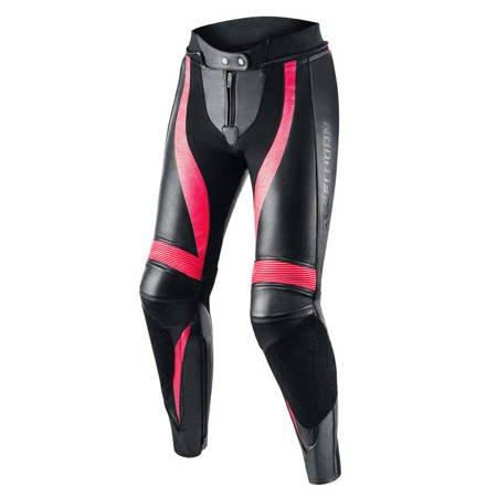 Damskie spodnie skórzane REBELHORN Rebel Lady pink