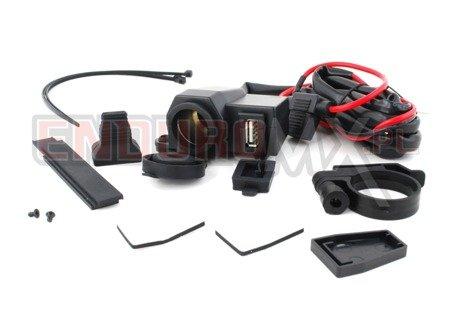 Gniazdo zapalniczki + USB z okablowaniem
