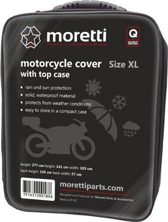 Pokrowiec na motocykl z kufrem MORETTI  - wodoodporny XL