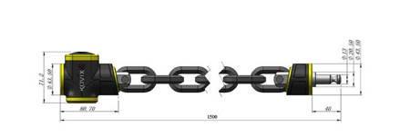 Zabezpieczenie łańcuch KOVIX KCL10-150 cm z alarmem